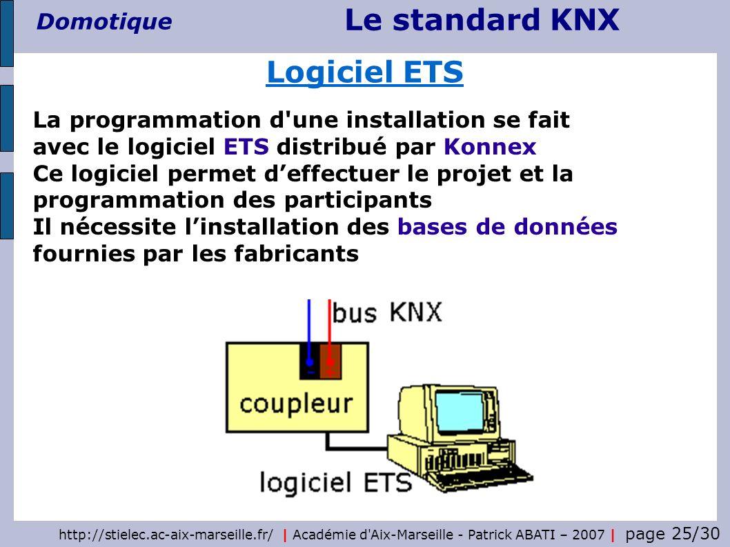 Le standard KNX Domotique http://stielec.ac-aix-marseille.fr/   Académie d'Aix-Marseille - Patrick ABATI – 2007   page 25/30 Logiciel ETS La programma