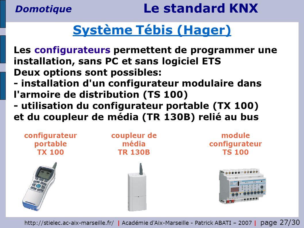 Le standard KNX Domotique http://stielec.ac-aix-marseille.fr/   Académie d'Aix-Marseille - Patrick ABATI – 2007   page 27/30 Système Tébis (Hager) Les