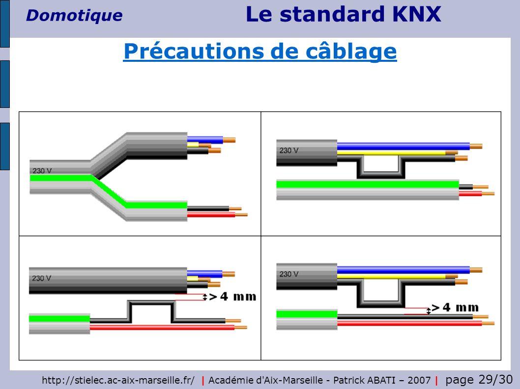 Le standard KNX Domotique http://stielec.ac-aix-marseille.fr/   Académie d'Aix-Marseille - Patrick ABATI – 2007   page 29/30 Précautions de câblage