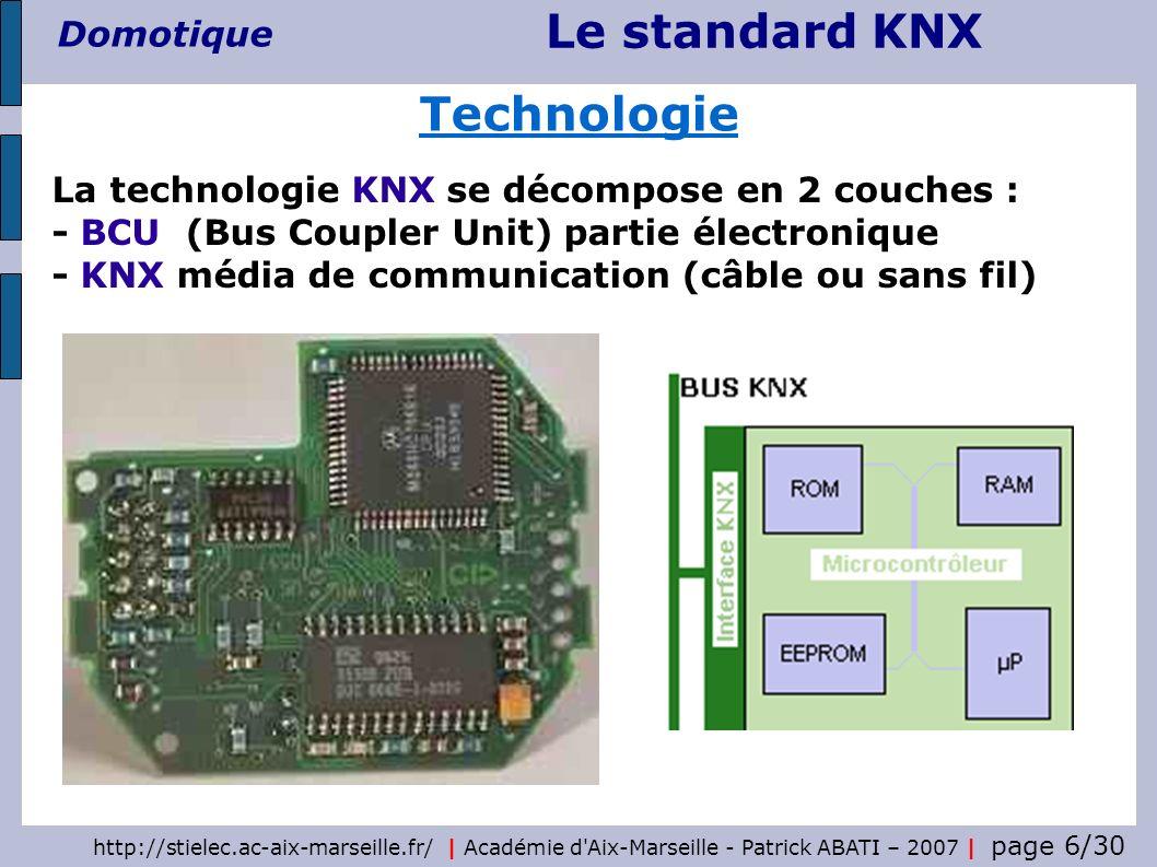 Le standard KNX Domotique http://stielec.ac-aix-marseille.fr/   Académie d'Aix-Marseille - Patrick ABATI – 2007   page 6/30 Technologie La technologie