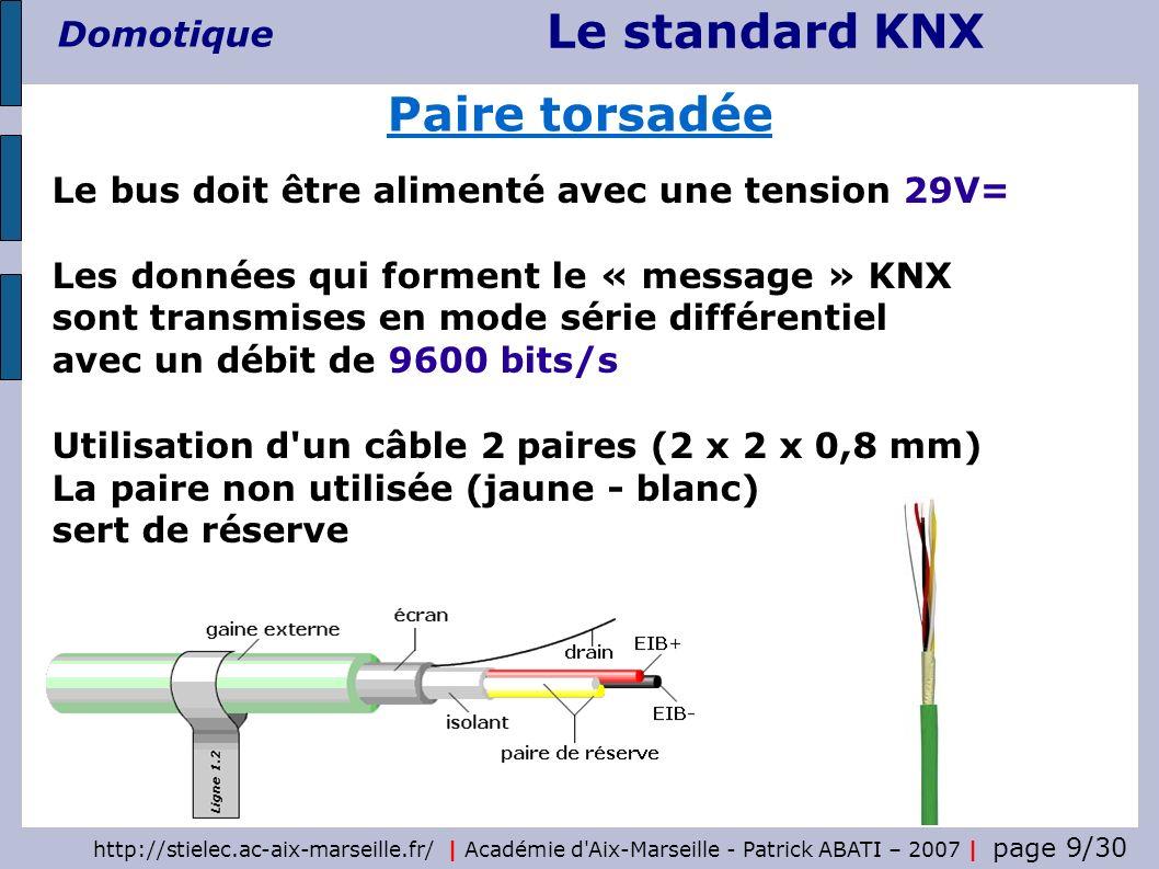 Le standard KNX Domotique http://stielec.ac-aix-marseille.fr/   Académie d'Aix-Marseille - Patrick ABATI – 2007   page 9/30 Paire torsadée Le bus doit