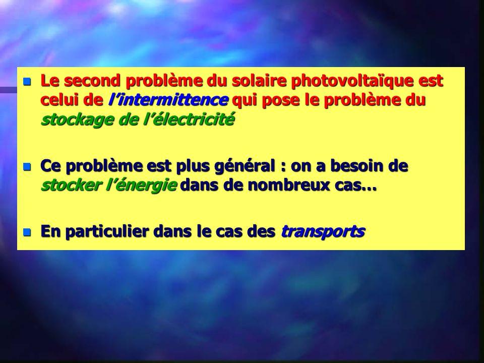 n Le second problème du solaire photovoltaïque est celui de lintermittence qui pose le problème du stockage de lélectricité n Ce problème est plus général : on a besoin de stocker lénergie dans de nombreux cas… n En particulier dans le cas des transports