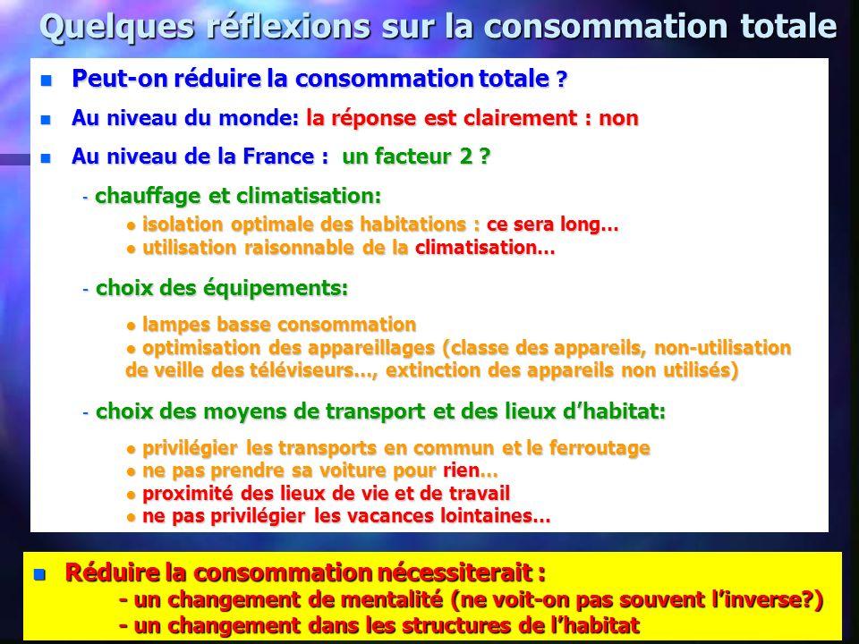 Quelques réflexions sur la consommation totale n Peut-on réduire la consommation totale .
