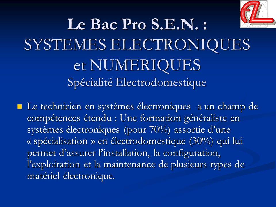 Le Bac Pro S.E.N. : SYSTEMES ELECTRONIQUES et NUMERIQUES Spécialité Electrodomestique Le technicien en systèmes électroniques a un champ de compétence