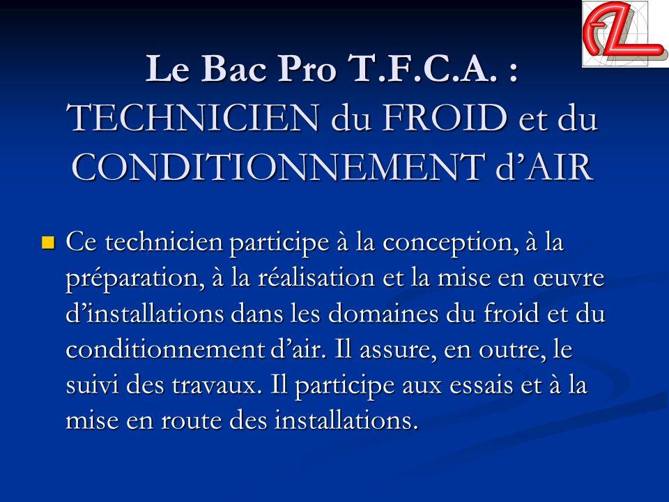 Le Bac Pro T.F.C.A. : TECHNICIEN du FROID et du CONDITIONNEMENT dAIR Ce technicien participe à la conception, à la préparation, à la réalisation et la