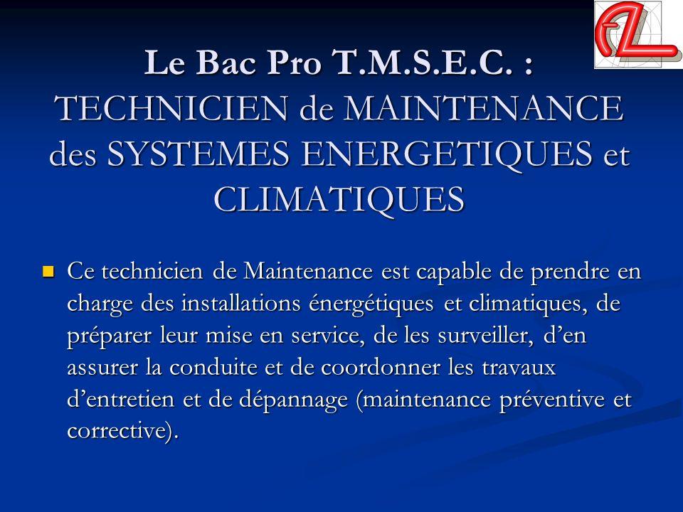 Le Bac Pro T.M.S.E.C. : TECHNICIEN de MAINTENANCE des SYSTEMES ENERGETIQUES et CLIMATIQUES Ce technicien de Maintenance est capable de prendre en char