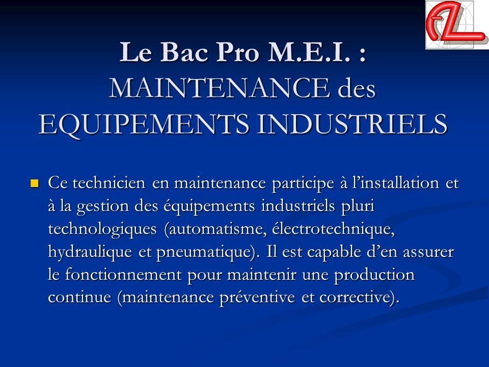 Le Bac Pro M.E.I. : MAINTENANCE des EQUIPEMENTS INDUSTRIELS Ce technicien en maintenance participe à linstallation et à la gestion des équipements ind