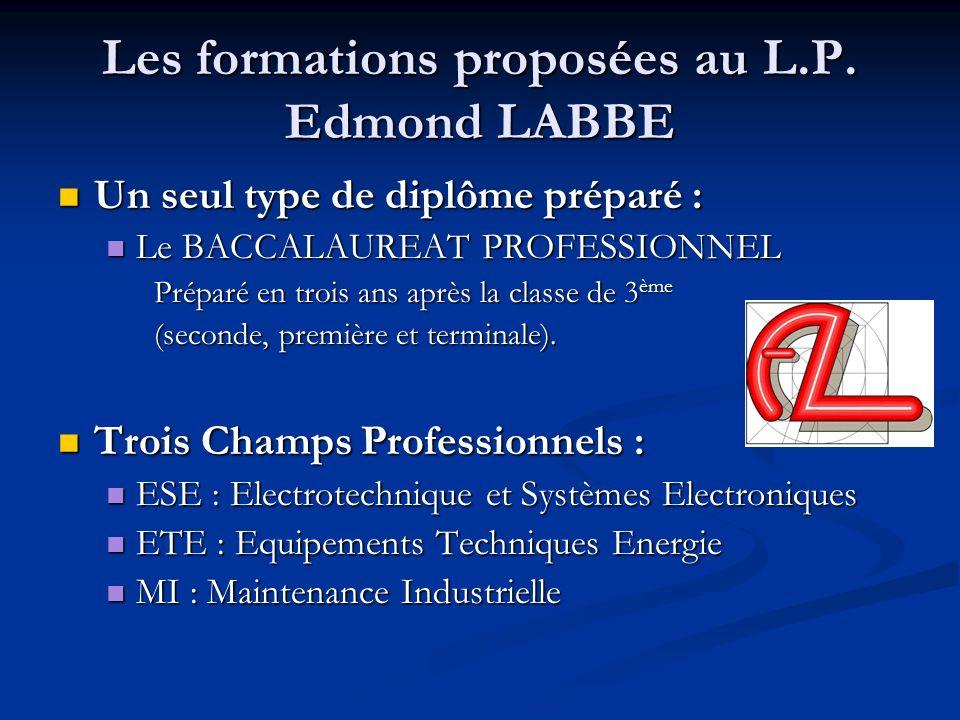 Les formations proposées au L.P. Edmond LABBE Un seul type de diplôme préparé : Un seul type de diplôme préparé : Le BACCALAUREAT PROFESSIONNEL Le BAC