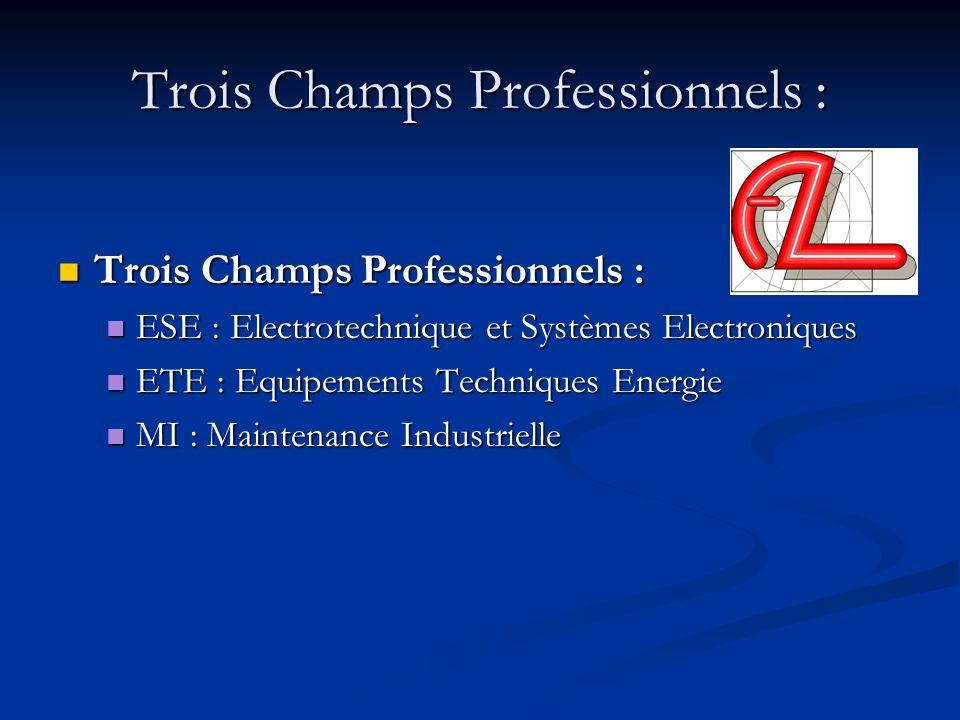 Trois Champs Professionnels : Trois Champs Professionnels : Trois Champs Professionnels : ESE : Electrotechnique et Systèmes Electroniques ESE : Elect