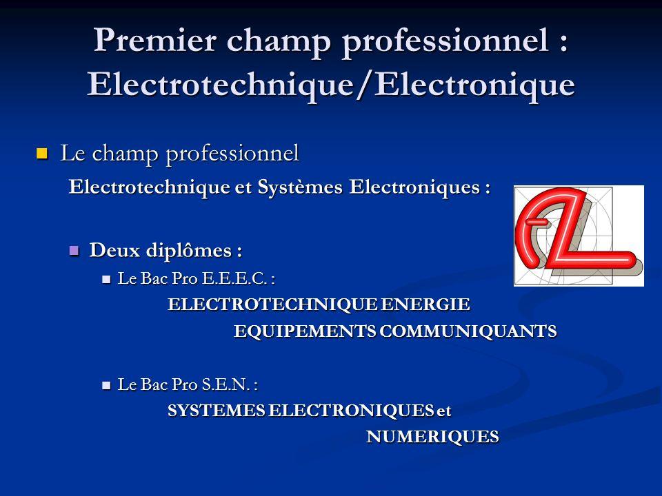 Premier champ professionnel : Electrotechnique/Electronique Le champ professionnel Le champ professionnel Electrotechnique et Systèmes Electroniques :