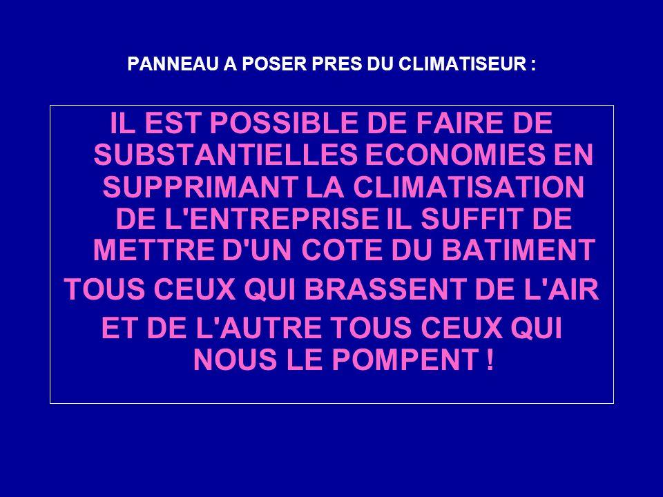 PANNEAU A POSER PRES DU CLIMATISEUR : IL EST POSSIBLE DE FAIRE DE SUBSTANTIELLES ECONOMIES EN SUPPRIMANT LA CLIMATISATION DE L ENTREPRISE IL SUFFIT DE METTRE D UN COTE DU BATIMENT TOUS CEUX QUI BRASSENT DE L AIR ET DE L AUTRE TOUS CEUX QUI NOUS LE POMPENT !