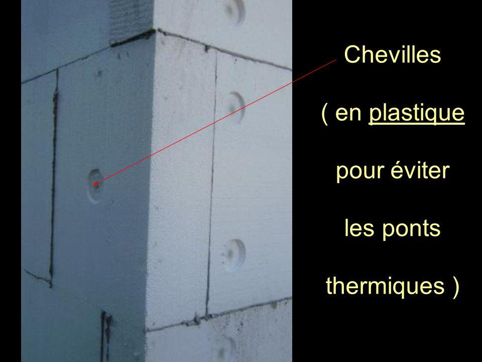 Chevilles ( en plastique pour éviter les ponts thermiques )