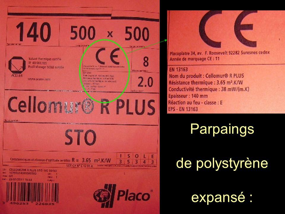 Parpaings de polystyrène expansé :