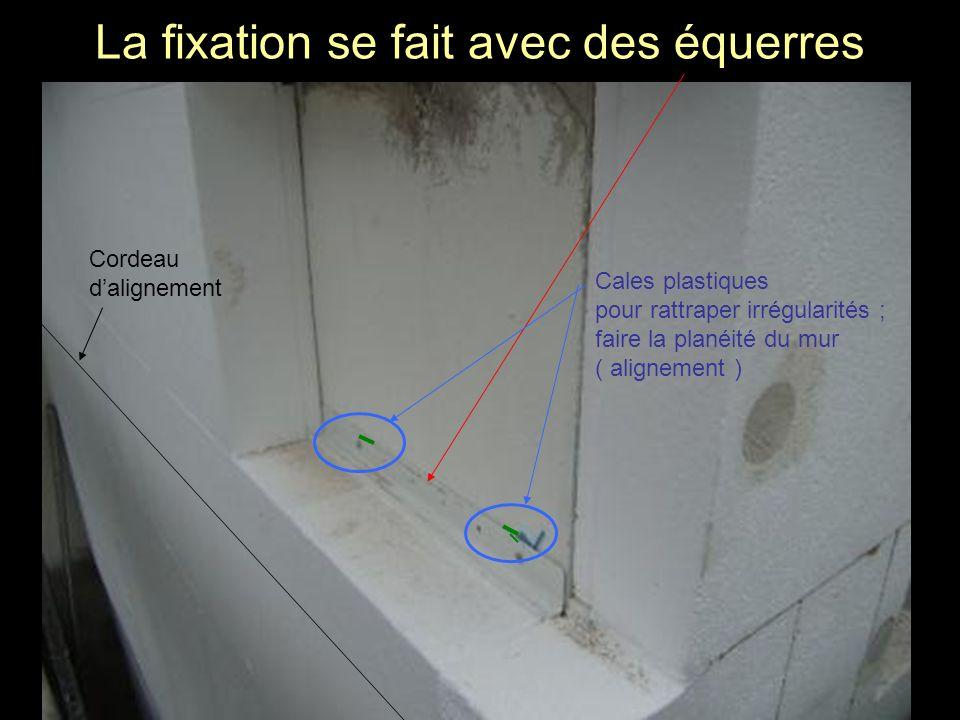 La fixation se fait avec des équerres Cales plastiques pour rattraper irrégularités ; faire la planéité du mur ( alignement ) Cordeau dalignement