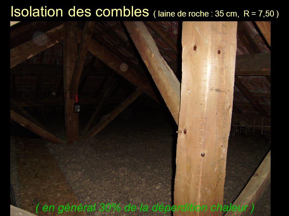 Isolation des combles ( laine de roche : 35 cm, R = 7,50 ) ( en général 30% de la déperdition chaleur )