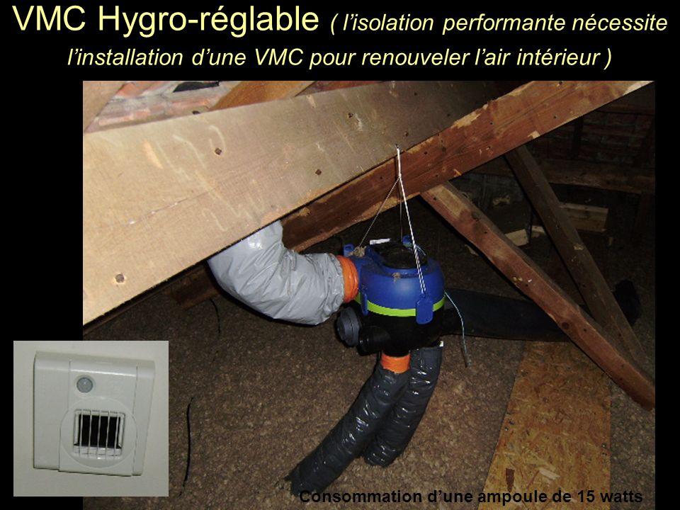 VMC Hygro-réglable ( lisolation performante nécessite linstallation dune VMC pour renouveler lair intérieur ) Consommation dune ampoule de 15 watts