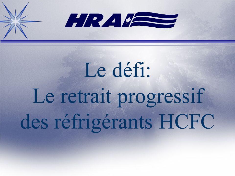 Les défis: La production des CFC a cessé le 31 décembre 1995 La production des CFC a cessé le 31 décembre 1995 Retrait progressif et élimination de lutilisation des CFC Retrait progressif et élimination de lutilisation des CFC Le retrait progressif des HCFC (R22) a commencé Le retrait progressif des HCFC (R22) a commencé En 2010, 65% de lapprovisionnement éliminés ET aucune nouvelle unité R22 (les unités R123 seront fabriquées) En 2010, 65% de lapprovisionnement éliminés ET aucune nouvelle unité R22 (les unités R123 seront fabriquées)