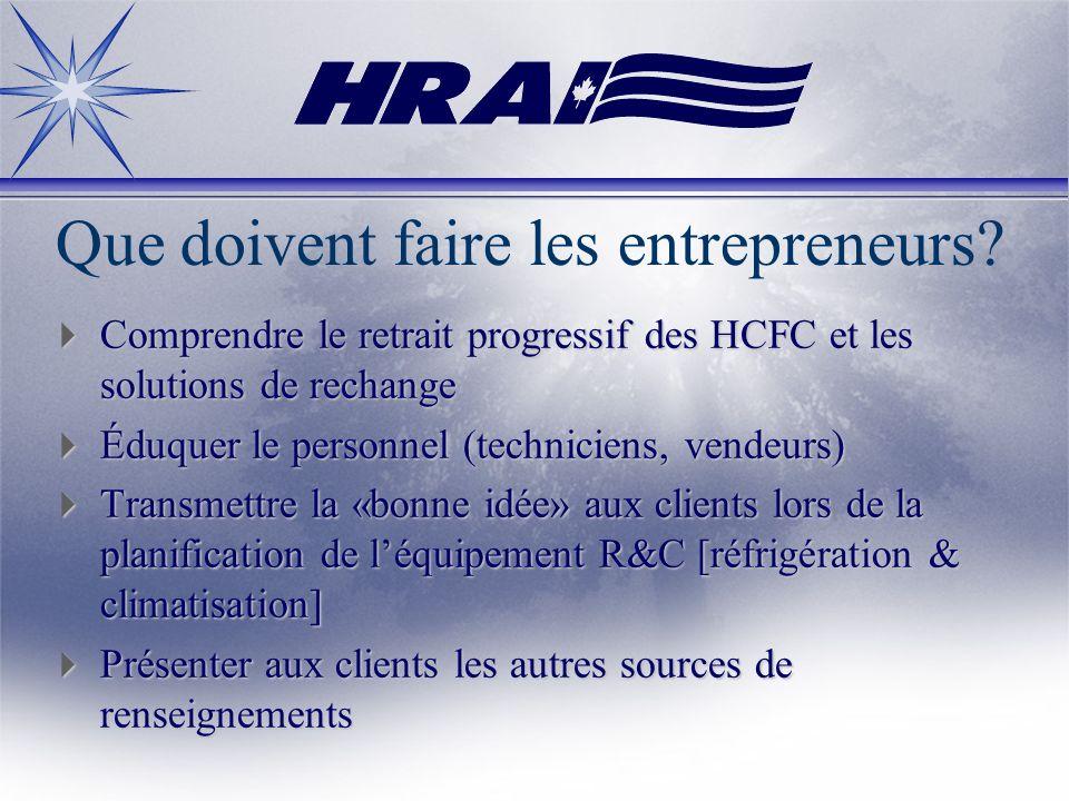 Que doivent faire les entrepreneurs? Comprendre le retrait progressif des HCFC et les solutions de rechange Comprendre le retrait progressif des HCFC