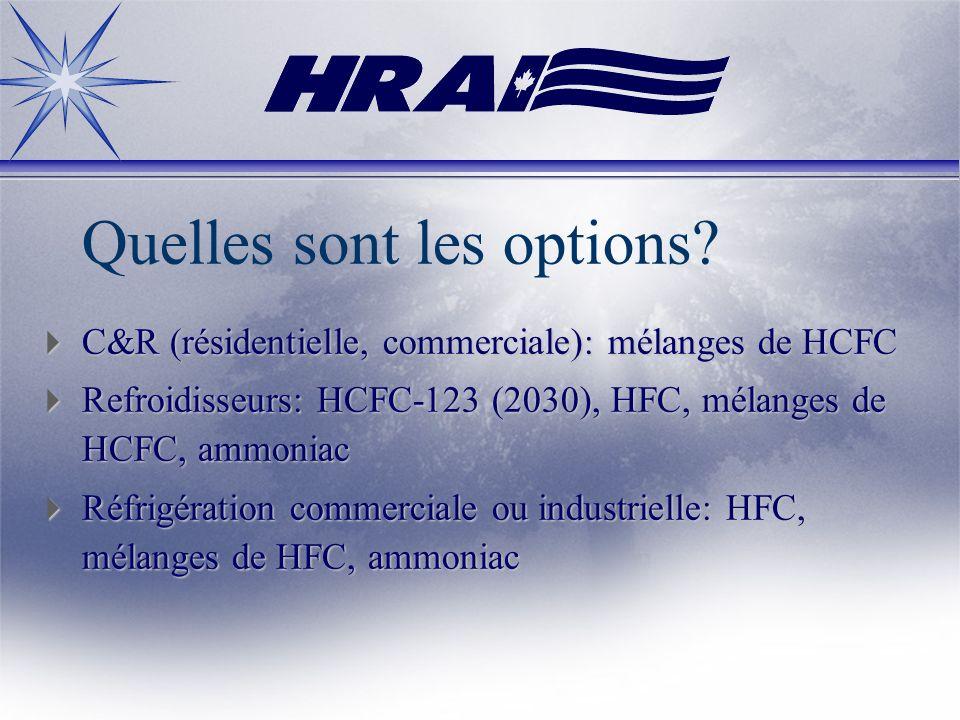 Quelles sont les options? C&R (résidentielle, commerciale): mélanges de HCFC C&R (résidentielle, commerciale): mélanges de HCFC Refroidisseurs: HCFC-1