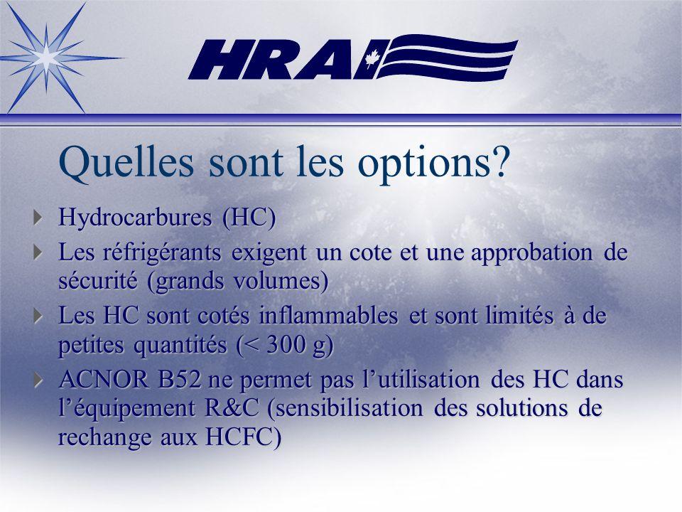 Quelles sont les options? Hydrocarbures (HC) Hydrocarbures (HC) Les réfrigérants exigent un cote et une approbation de sécurité (grands volumes) Les r