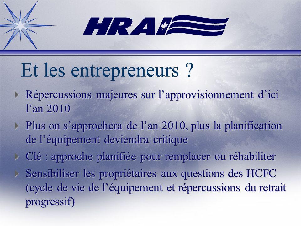 Et les entrepreneurs ? Répercussions majeures sur lapprovisionnement dici lan 2010 Répercussions majeures sur lapprovisionnement dici lan 2010 Plus on