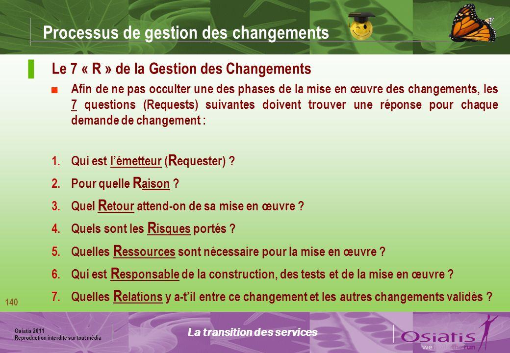 Osiatis 2011 Reproduction interdite sur tout média 141 Processus de gestion des changements Origines et types des changements (RFC) : La transition des services