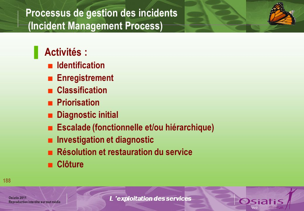 Osiatis 2011 Reproduction interdite sur tout média 189 Processus de gestion des incidents (Incident Management Process) Diagramme des activités L exploitation des services