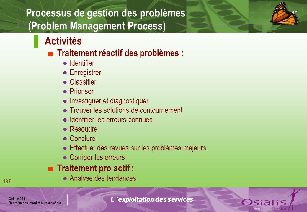 Osiatis 2011 Reproduction interdite sur tout média 198 Processus de gestion des problèmes (Problem Management Process) Diagramme des activités : L exploitation des services