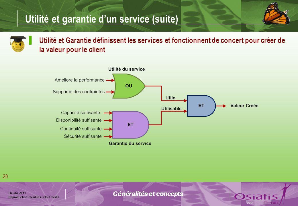 Osiatis 2011 Reproduction interdite sur tout média 21 La valeur dun service Défini en termes de perception du service par le client Généralités et concepts