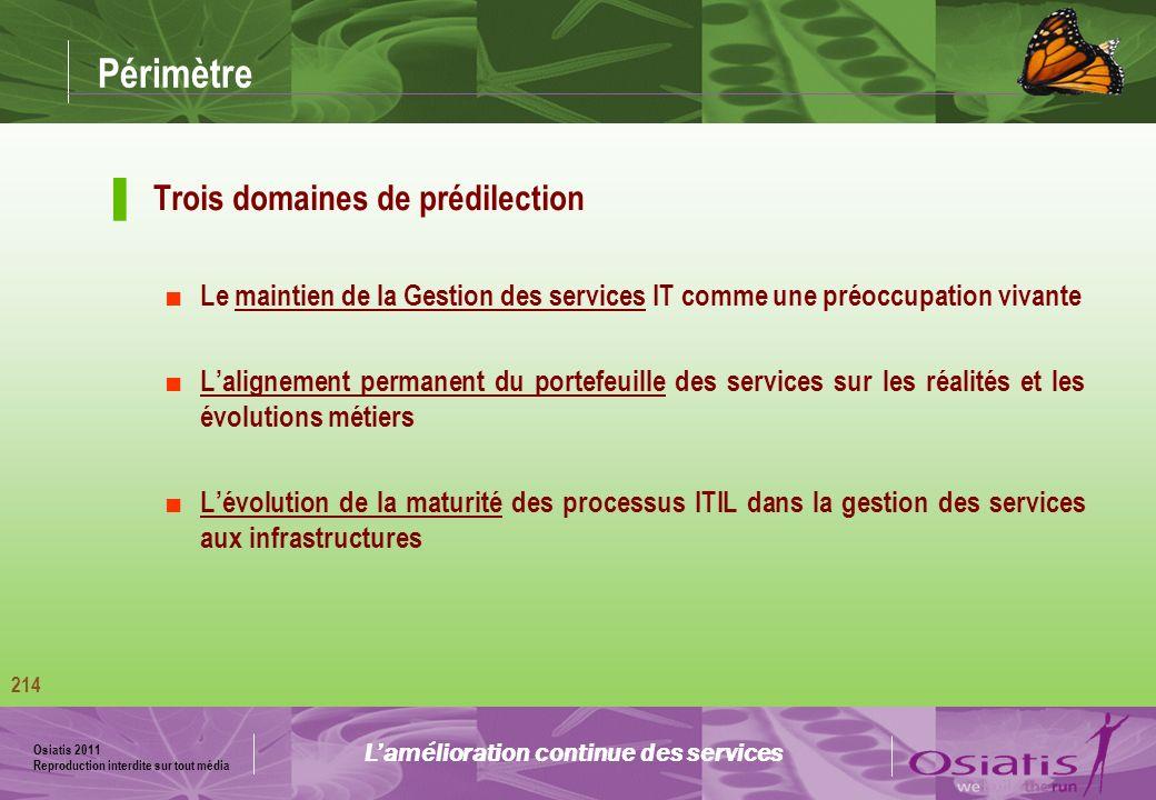 Osiatis 2011 Reproduction interdite sur tout média 215 Analyse de maturité Lamélioration continue des services