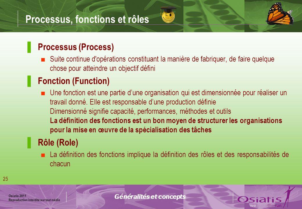 Osiatis 2011 Reproduction interdite sur tout média Modélisation des processus Généralités et concepts ( Process owner) ( Process Manager)
