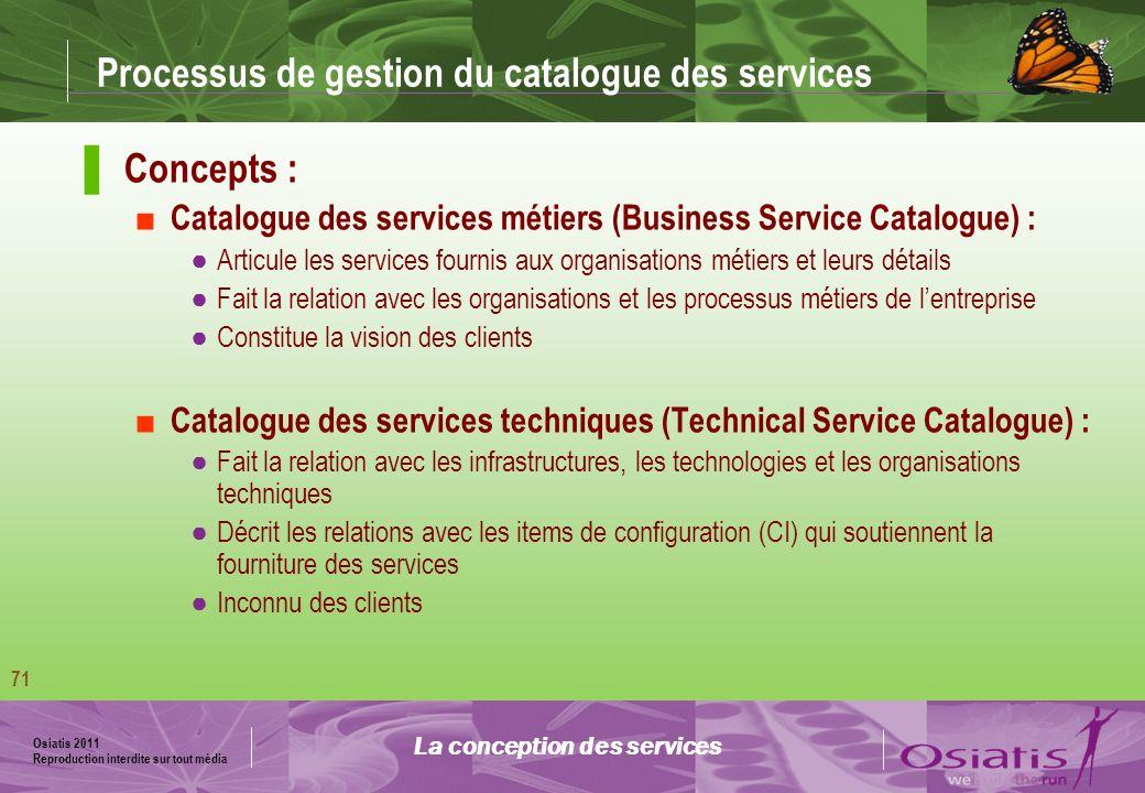 Osiatis 2011 Reproduction interdite sur tout média 72 Schéma du Catalogue des Services La conception des services