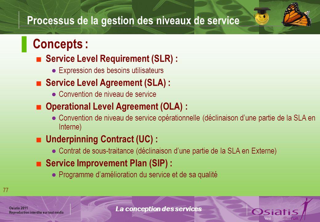 Osiatis 2011 Reproduction interdite sur tout média 78 La conception des services Vision macroscopique Processus de la gestion des niveaux de service