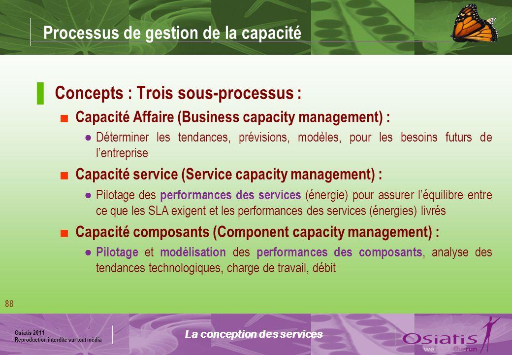 Osiatis 2011 Reproduction interdite sur tout média 89 Processus de la gestion de la capacité La conception des services