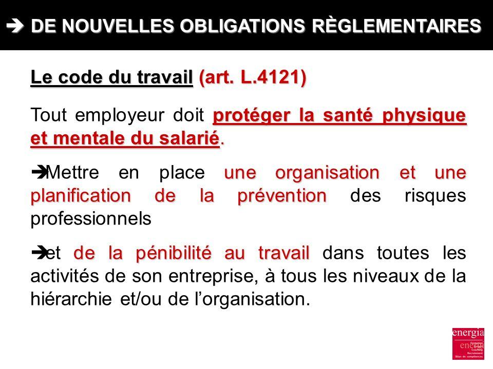 DE NOUVELLES OBLIGATIONS RÈGLEMENTAIRES DE NOUVELLES OBLIGATIONS RÈGLEMENTAIRES Le code du travail (art. L.4121) protéger la santé physique et mentale