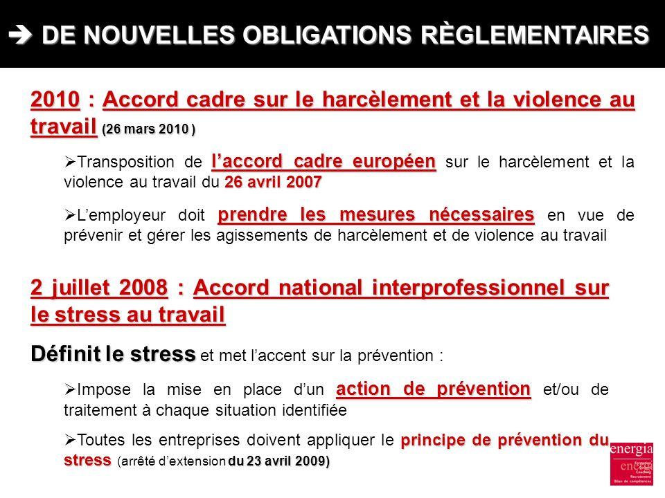 DE NOUVELLES OBLIGATIONS RÈGLEMENTAIRES DE NOUVELLES OBLIGATIONS RÈGLEMENTAIRES 2010 : Accord cadre sur le harcèlement et la violence au travail (26 m