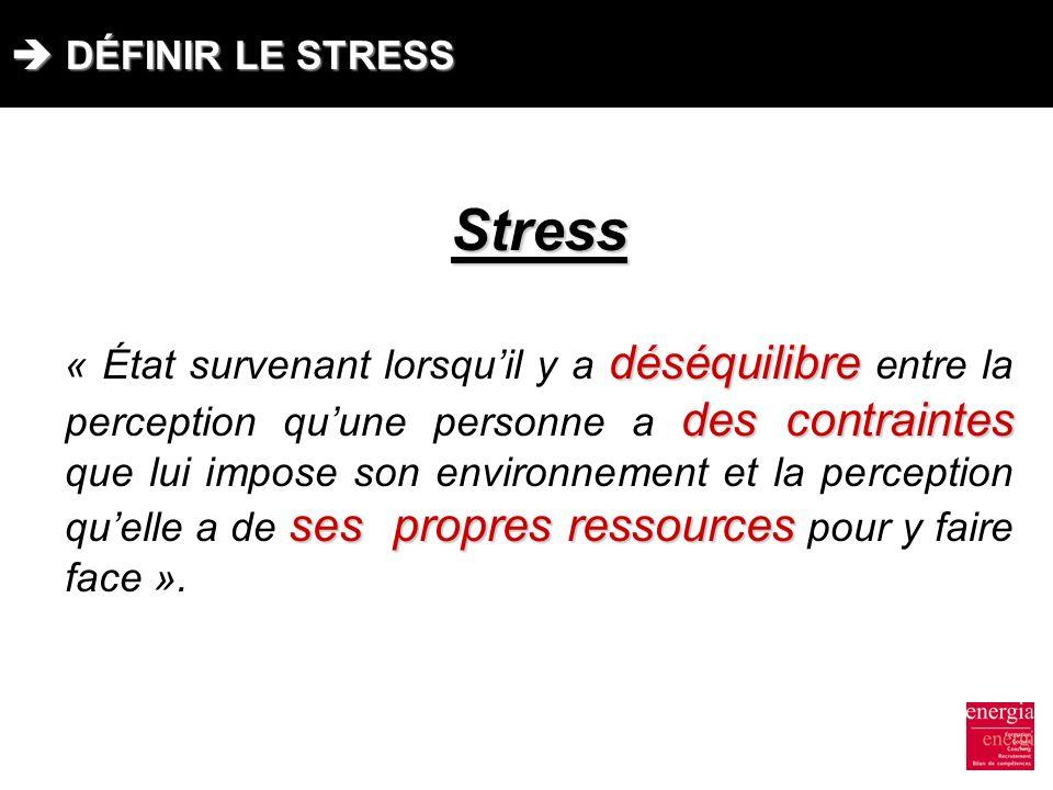 DÉFINIR LE STRESS DÉFINIR LE STRESSStress déséquilibre des contraintes ses propres ressources « État survenant lorsquil y a déséquilibre entre la perc