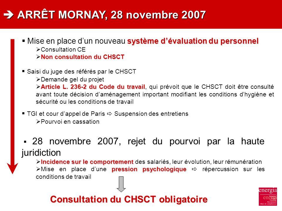ARRÊT MORNAY, 28 novembre 2007 ARRÊT MORNAY, 28 novembre 2007 système dévaluation du personnel Mise en place dun nouveau système dévaluation du person