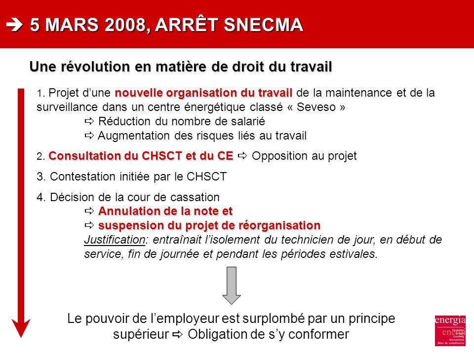 5 MARS 2008, ARRÊT SNECMA 5 MARS 2008, ARRÊT SNECMA nouvelle organisation du travail 1. Projet dune nouvelle organisation du travail de la maintenance