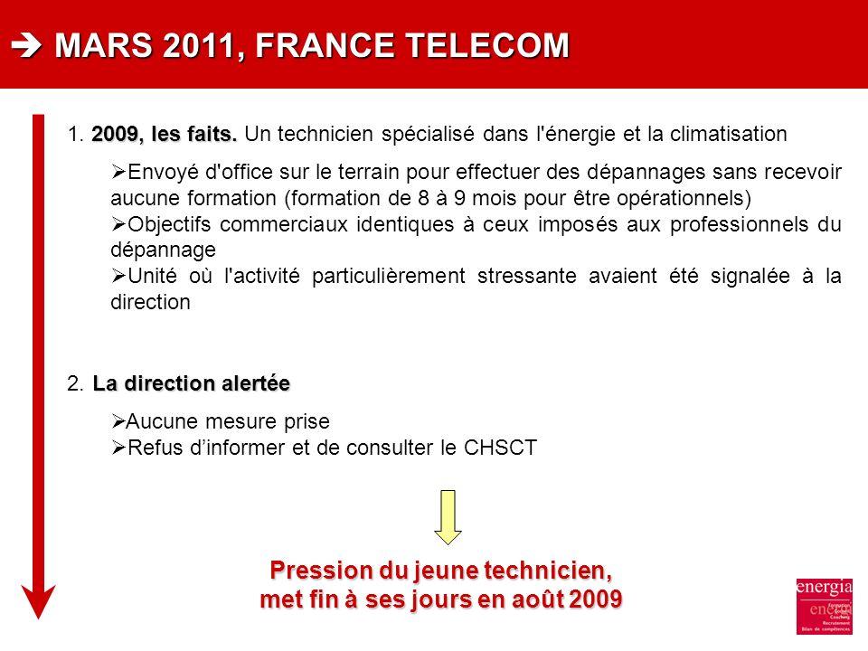 MARS 2011, FRANCE TELECOM MARS 2011, FRANCE TELECOM 2009, les faits. 1. 2009, les faits. Un technicien spécialisé dans l'énergie et la climatisation E