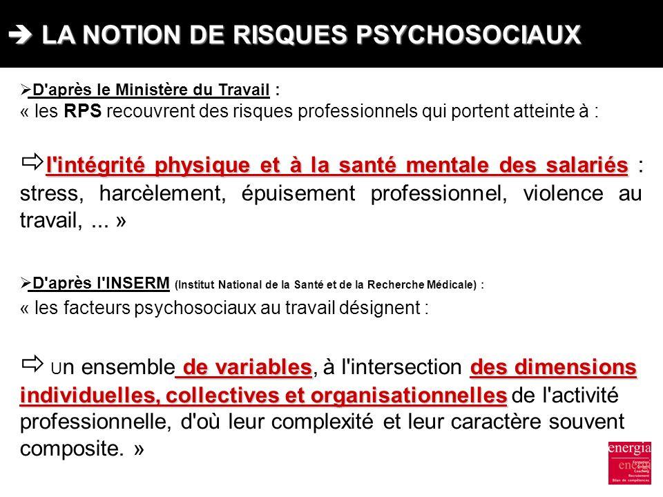 LA NOTION DE RISQUES PSYCHOSOCIAUX LA NOTION DE RISQUES PSYCHOSOCIAUX D'après le Ministère du Travail : « les RPS recouvrent des risques professionnel