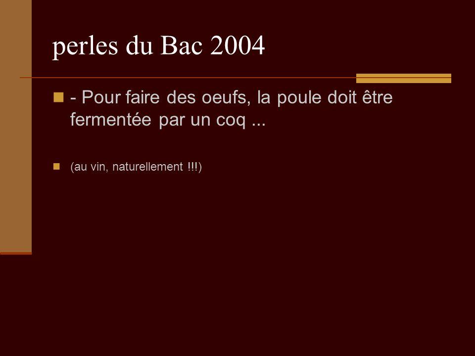 perles du Bac 2004 - Pour faire des oeufs, la poule doit être fermentée par un coq...