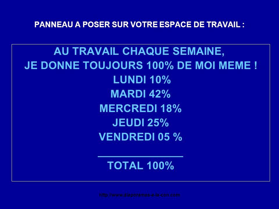 http://www.diaporamas-a-la-con.com PANNEAU A POSER SUR VOTRE ESPACE DE TRAVAIL : AU TRAVAIL CHAQUE SEMAINE, JE DONNE TOUJOURS 100% DE MOI MEME ! LUNDI