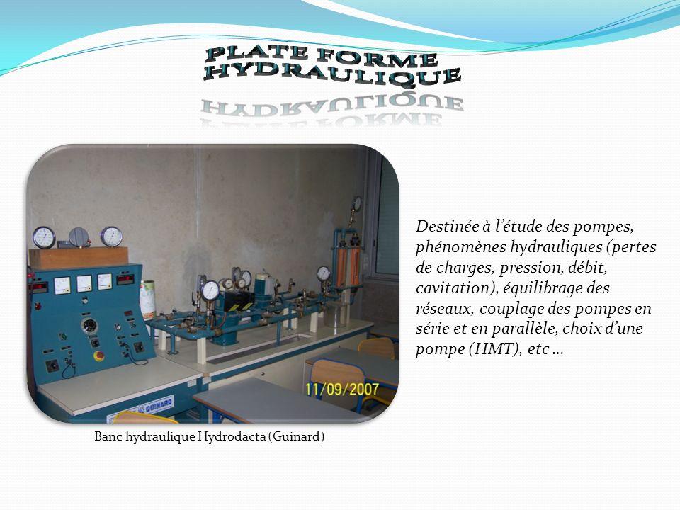 Banc hydraulique Hydrodacta (Guinard) Destinée à létude des pompes, phénomènes hydrauliques (pertes de charges, pression, débit, cavitation), équilibrage des réseaux, couplage des pompes en série et en parallèle, choix dune pompe (HMT), etc …