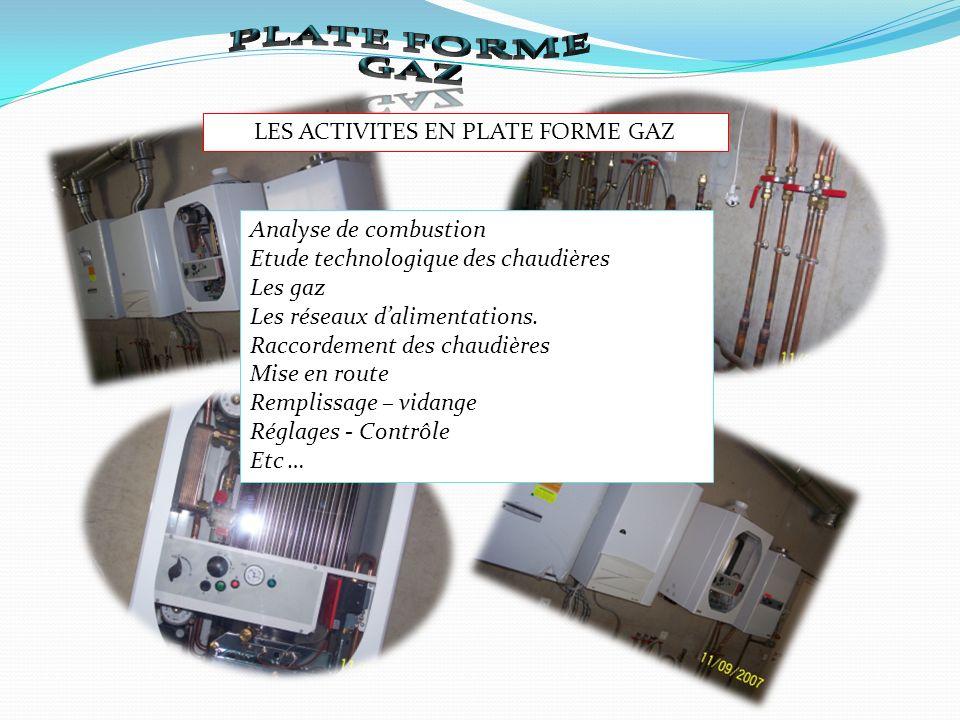 LES ACTIVITES EN PLATE FORME GAZ Analyse de combustion Etude technologique des chaudières Les gaz Les réseaux dalimentations.