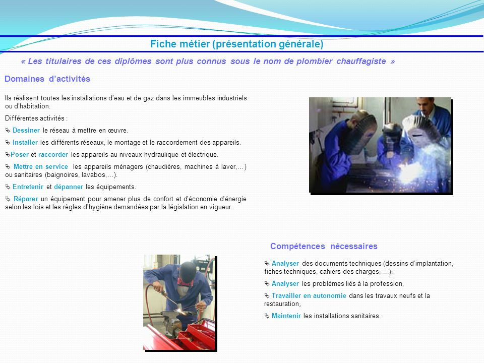 Fiche métier (présentation générale) Analyser des documents techniques (dessins d'implantation, fiches techniques, cahiers des charges,...), Analyser