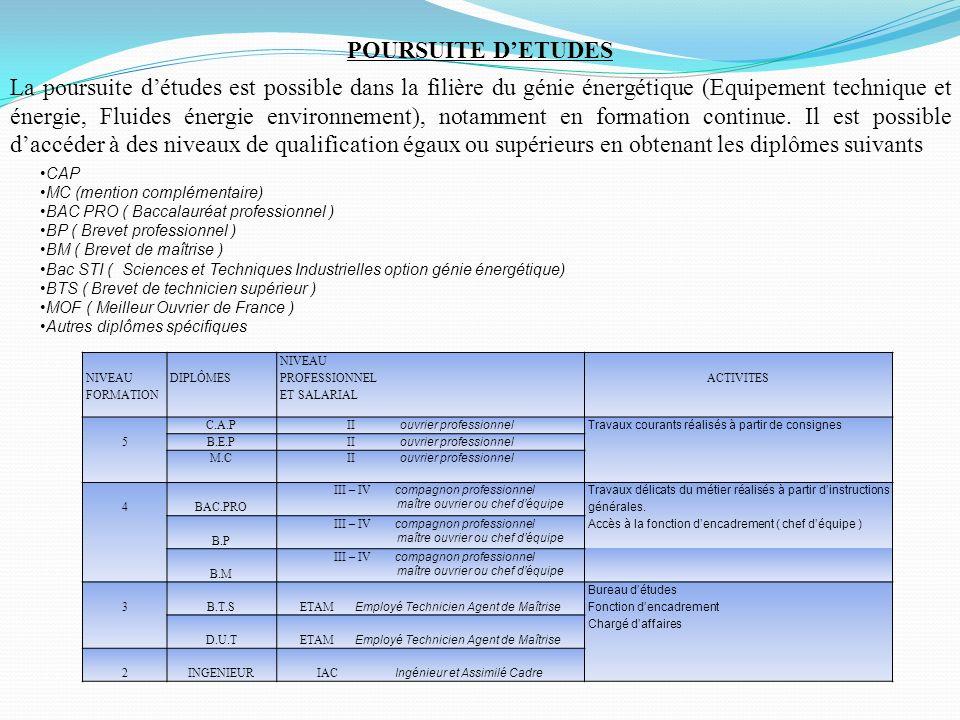 NIVEAU FORMATION DIPLÔMES NIVEAU PROFESSIONNEL ET SALARIAL ACTIVITES 5 C.A.P II ouvrier professionnelTravaux courants réalisés à partir de consignes B