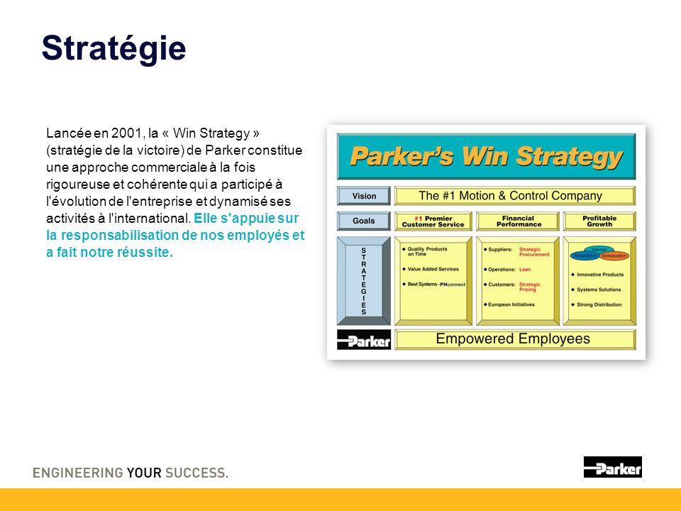Stratégie Lancée en 2001, la « Win Strategy » (stratégie de la victoire) de Parker constitue une approche commerciale à la fois rigoureuse et cohérente qui a participé à l évolution de l entreprise et dynamisé ses activités à l international.