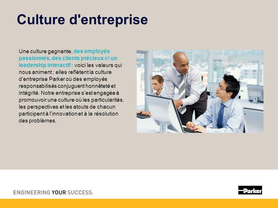 Culture d entreprise Une culture gagnante, des employés passionnés, des clients précieux et un leadership interactif : voici les valeurs qui nous animent ; elles reflètent la culture d entreprise Parker où des employés responsabilisés conjuguent honnêteté et intégrité.