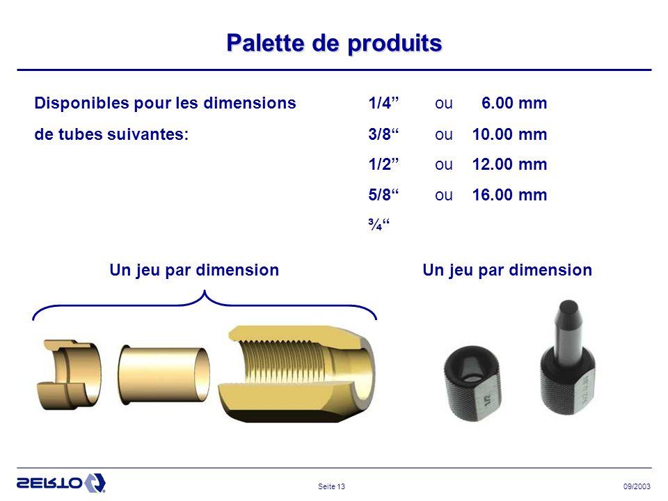 09/2003Seite 13 Palette de produits Disponibles pour les dimensions1/4ou 6.00 mm de tubes suivantes:3/8ou 10.00 mm 1/2ou 12.00 mm 5/8 ou 16.00 mm ¾ Un jeu par dimension
